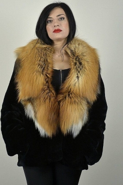 Black Rex fur jacket with Red full skin fox collar