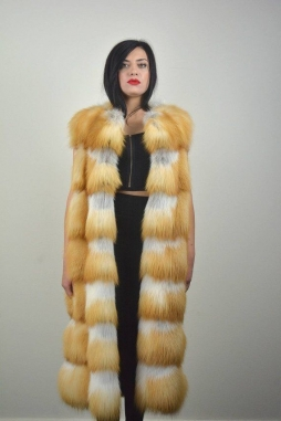 Real Canadian Red Fox Fur Vest Full Skins