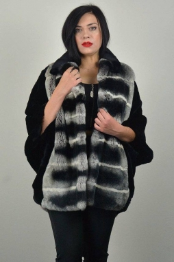 Real Rex Fur Cape, genuine rex fur Cape. Black & chinchilla color with collar