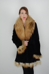 Black Nutria Fur Jacket with Red Fox Collar