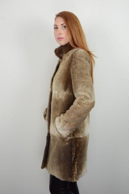 Nutria Fur Jacket With Mink Collar